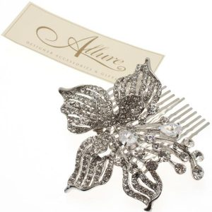 Vintage Flower Hair comb with Swarovski Crystal & CZ