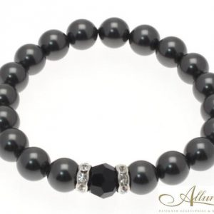 Grey Pearl Bracelet with Black Centre Stone