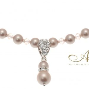 Almond Pearl & Swarovski Crystal Necklace with Pearl Pendant