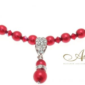 Red Pearl & Swarovski Crystal Necklace with Pearl Pendant