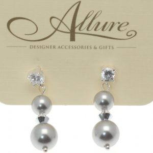 Grey Pearl Drop Earrings