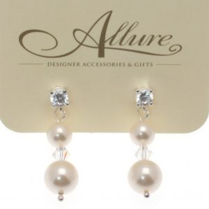 Ivory Pearl & Crystal Drop Earrings