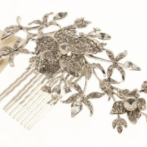 Swarovski Crystal Floral Detail Rhodium Haircomb