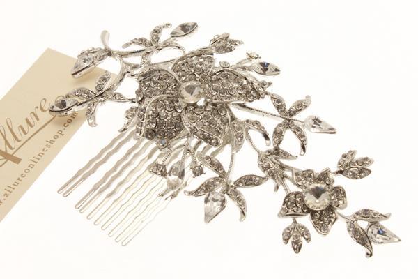 Swarovski Crystal Floral Detail Rhodium Haircomb
