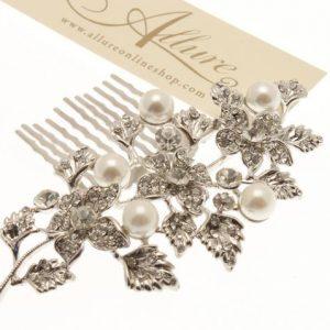 Ivory Pearl & Swarovski Crystal Hair Comb