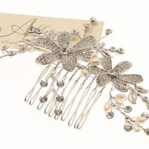Elegant Fresh Water Pearl & Swarovski Crystal Hair Comb