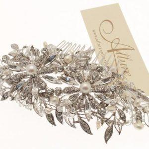 Venetian Styled Bridal Swarovski Crystal & Pearl Hair Comb