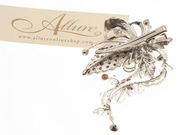 Bridal or Bridesmaid Ivy Details Swarovski Crystal Hair Clip