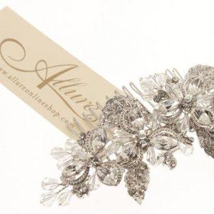 Vintage Clear Crystal Bead & Swarovski Crystal Comb