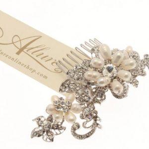 Vintage Swarovski Crystal & Fresh water pearl comb