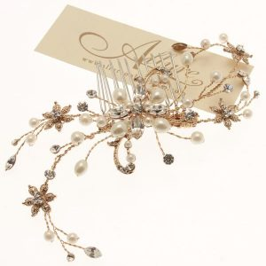 Gold Fresh Water Pearl & Swarovski Crystal Hair Comb