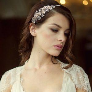 Elegant Ivory Pearl & CZ Crystal Bridal Headband