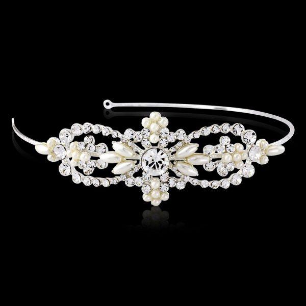 Chic & Elegant Pearl & Crystal Side Headband