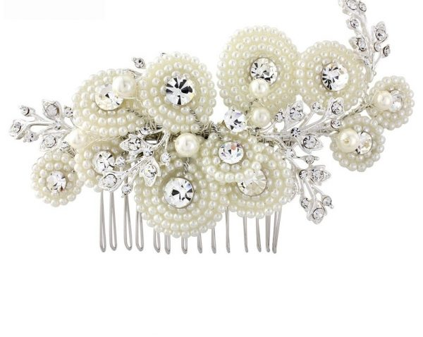 Ivory Pearl & Silver Crystal Luxurious Hair Comb