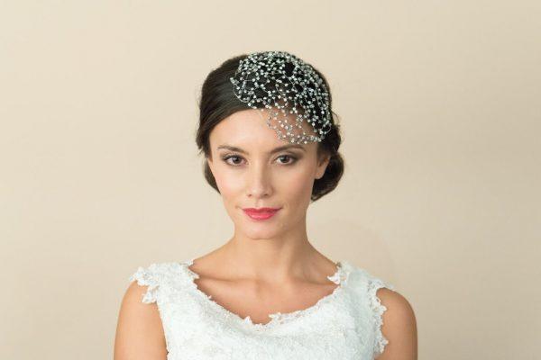 Unique Bridal Clear Swarovski Crystal Birdcage Veil