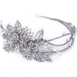 Large Bridal Clear Swarovski Crystal Side Headpiece
