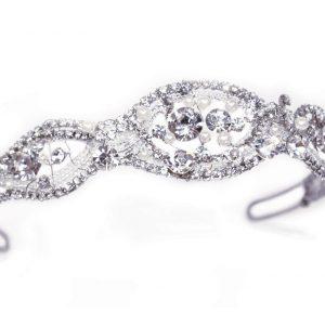 Vintage Bridal Clear Swarovski Crystal & Freshwater Pearl Headpiece
