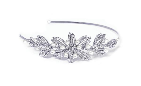 Sophisticated Bridal Clear Swarovski Crystal & Freshwater Pearl Headband