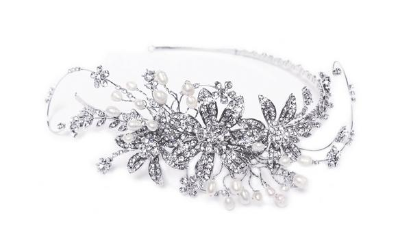 Romantic Bridal Clear Swarovski Crystal & Freshwater Pearl Headpiece