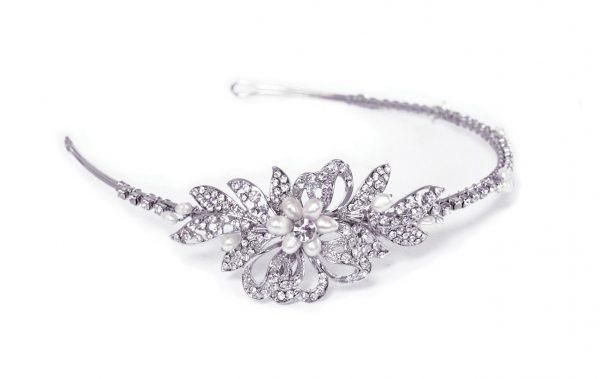 Delicate Bridal Clear Swarovski Crystal & Freshwater Pearls Headband