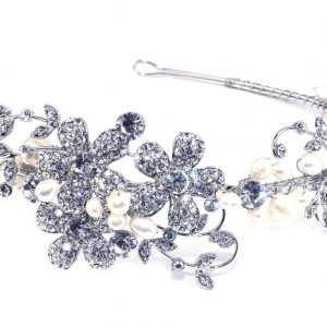 Spectacular Bridal Clear Swarovski Crystal & Freshwater Pearls Headpiece