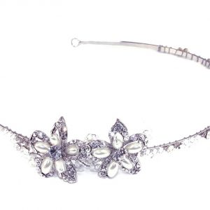 Dainty Floral Bridal Clear Swarovski Crystal Headpiece