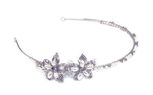 Dainty Floral Bridal Clear Swarovski Crystal Headpiece