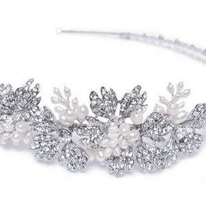Pretty Bridal Clear Swarovski Crystal & Freshwater Pearl Headpiece