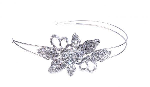 Delicate Bridal Clear Swarovski Crystal Double Headband