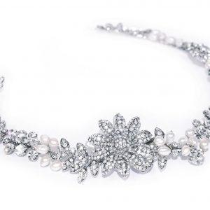 Stunning Versatile Bridal Clear Swarovski Crystal & Freshwater Pearl Headpiece