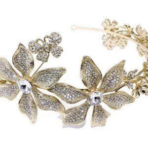 Stunning Gold Eye-Catching Bridal Clear Swarovski Crystal Headband