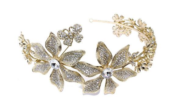 Stunning Gold Eye-Catching Bridal Clear Swarovski Crystal Headband