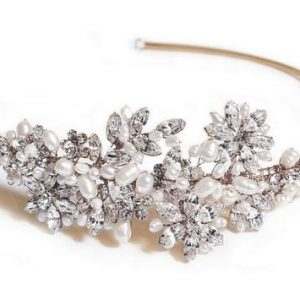 Sophisticated Gold Bridal Clear Swarovski Crystal Headpiece