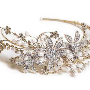 Romantic Gold Bridal Clear Swarovski Crystal & Freshwater Pearls Headband