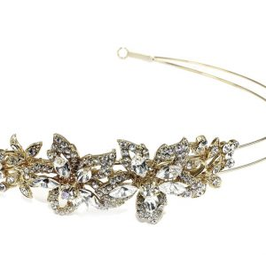 Dainty Gold Bridal Clear Swarovski Crystal Headband