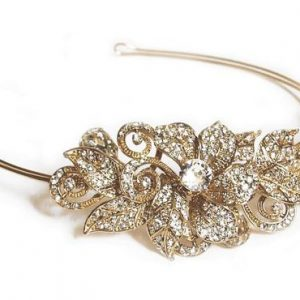 Organic Floral Gold Bridal Clear Swarovski Crystal Headband
