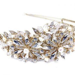 Vintage Gold Bridal Clear Swarovski Crystal & Freshwater Pearls Headpiece