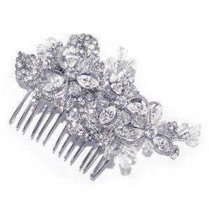 Feminine Floral Bridal Clear Swarovski Crystal Hair Comb