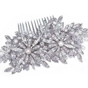 Vintage Bridal Clear Swarovski Crystal Hair Comb