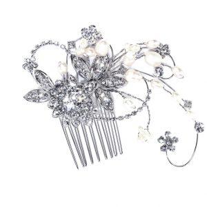 Vintage Bridal Clear Swarovski & Freshwater Pearls Crystal Hair Comb