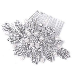 Elegant Bridal Clear Swarovski Crystal Hair & Freshwater Pearl Comb