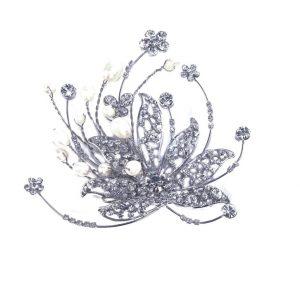 Vintage Bridal Clear Swarovski Crystal & Freshwater Pearl Hair Comb