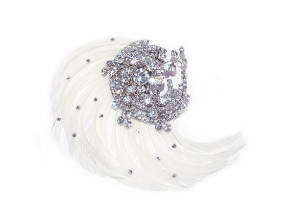 Sophisticated Bridal Clear Swarovski Crystal & Ivory Feathers Comb