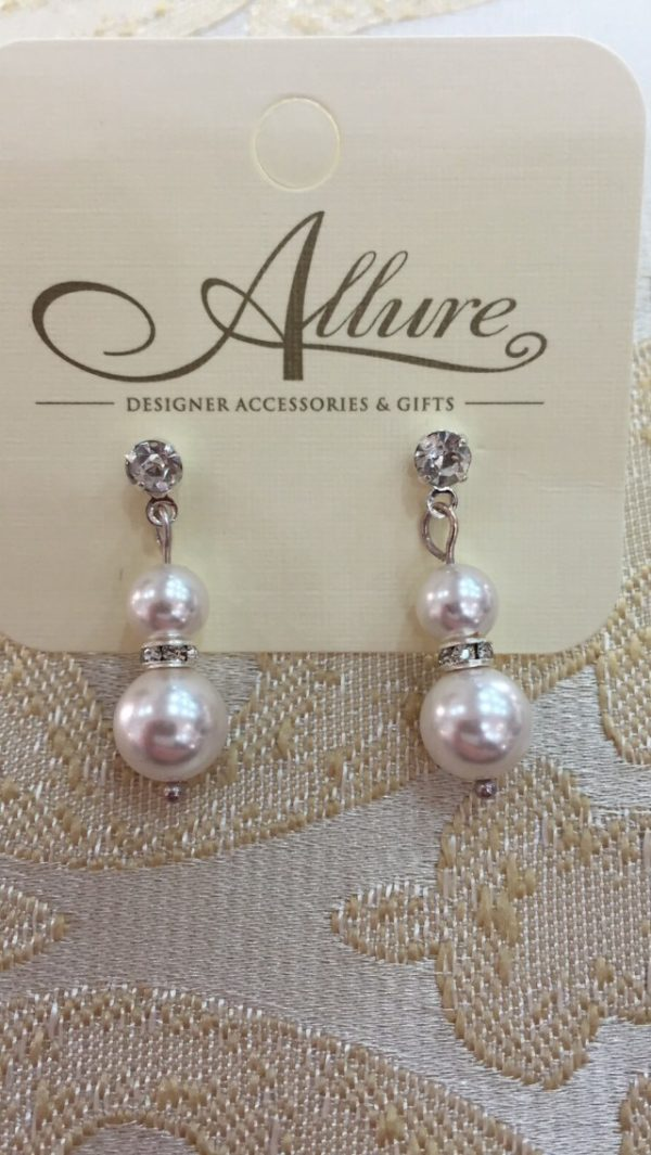 White Swarovski Pearl Earrings with Rondelle