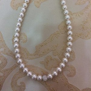 Stunning White Pearl Necklace with Disco Ball