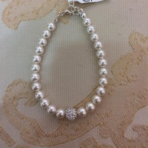 Stunning Ivory Pearl Bracelet with Disco Ball