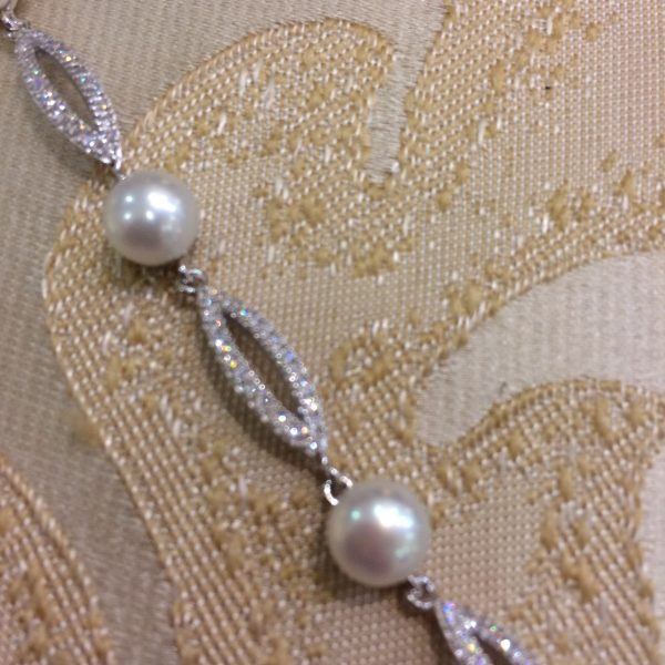Beautiful Diamante & Fresh Water Pearl Bracelet