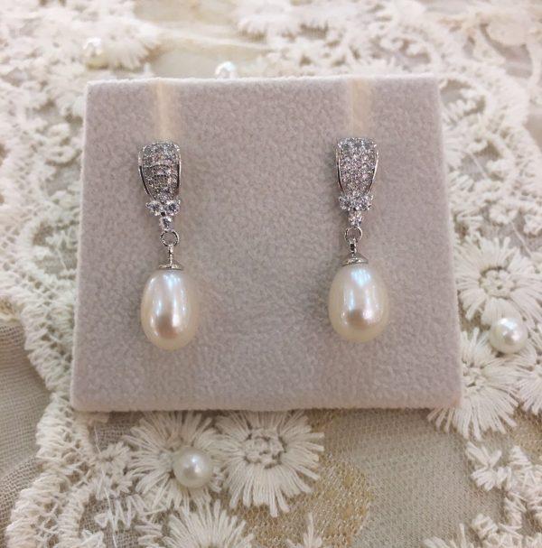 Delicate Pearl & Silver Earrings