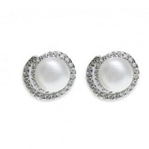 Classic Pearl & Silver Stud Earrings