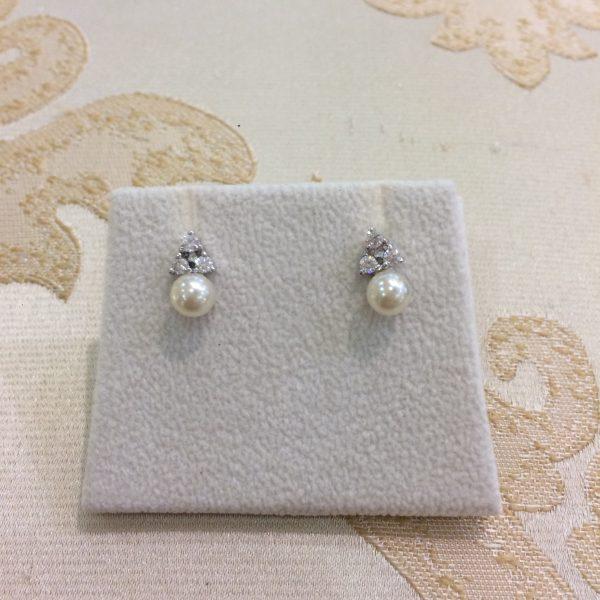 Beautiful Pearl & Silver Stud Earrings